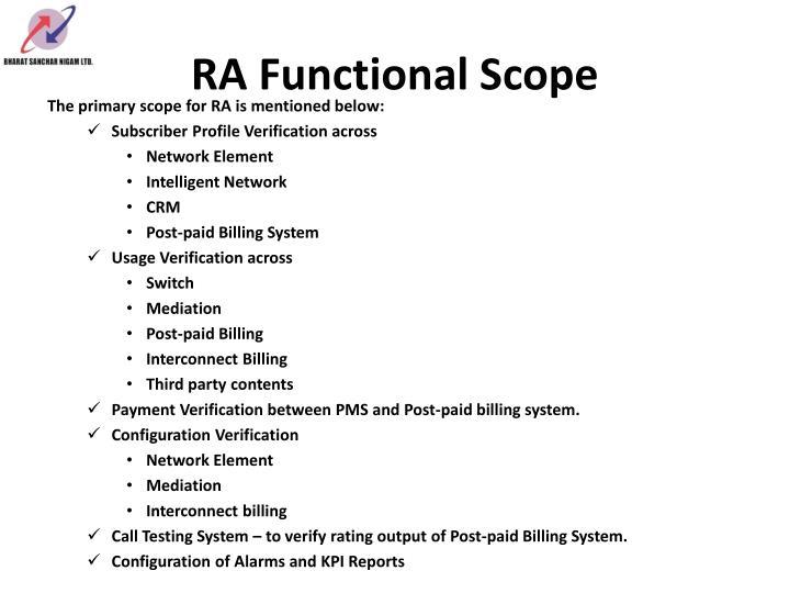 RA Functional Scope