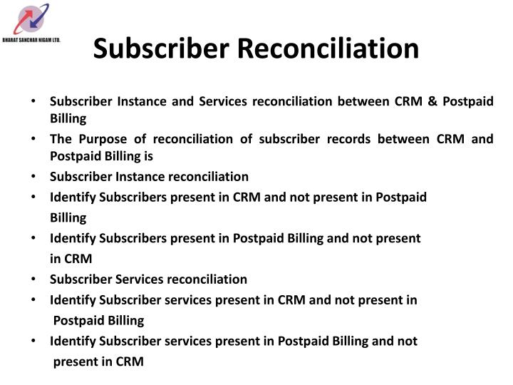 Subscriber Reconciliation