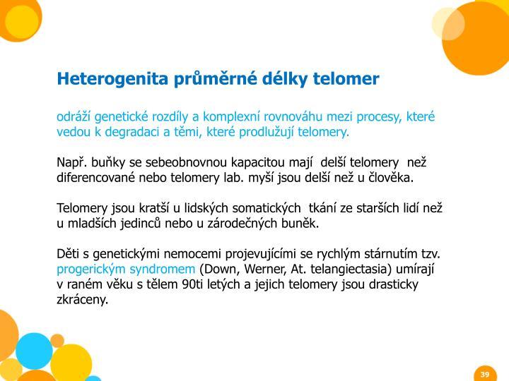 Heterogenita průměrné délky telomer