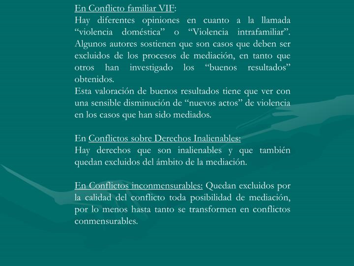 En Conflicto familiar VIF