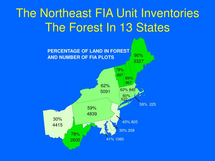The northeast fia unit inventories the forest in 13 states
