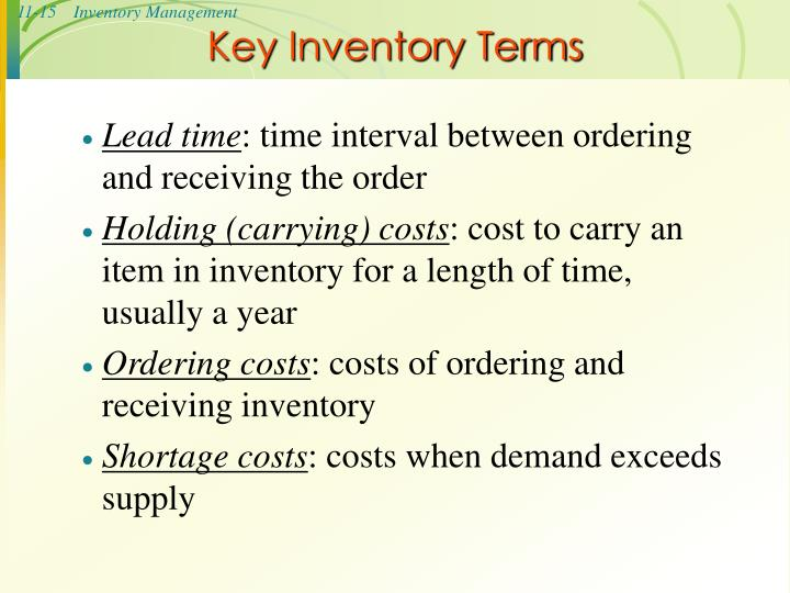 Key Inventory Terms