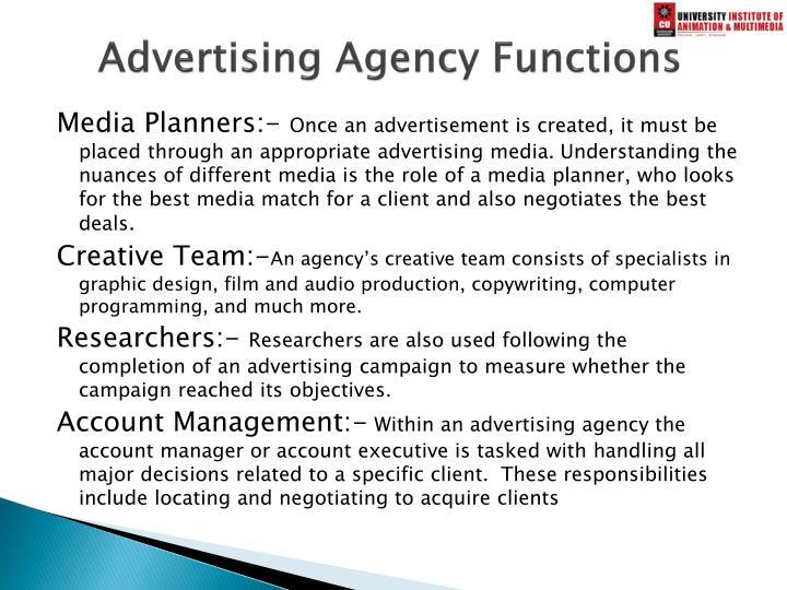 Advertising Agency Functions