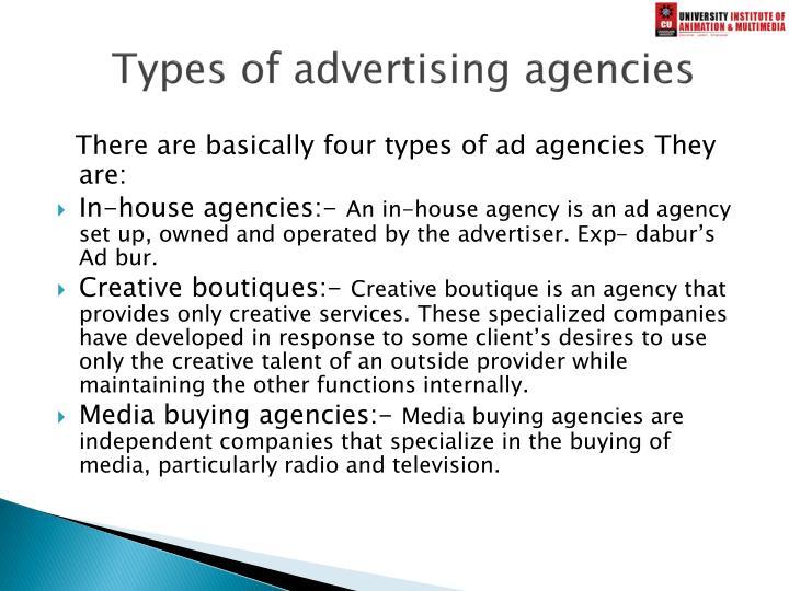 Types of advertising agencies