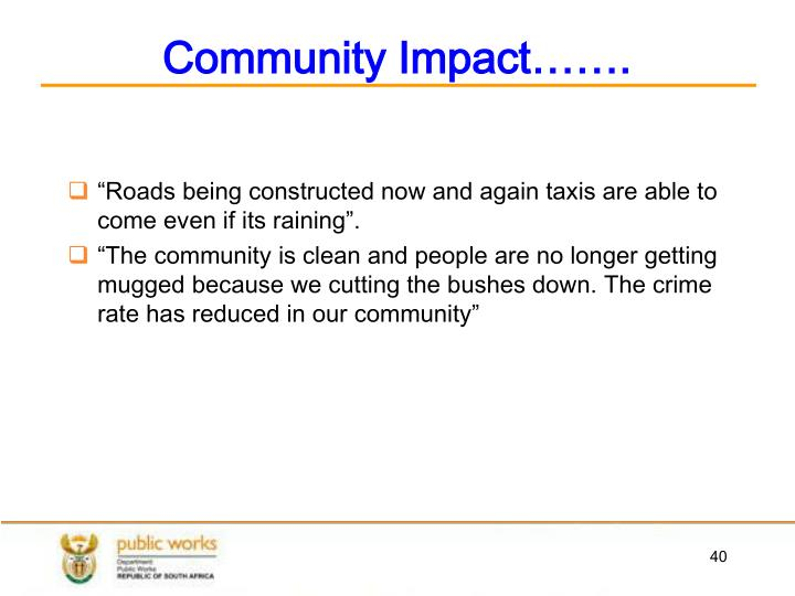 Community Impact…….