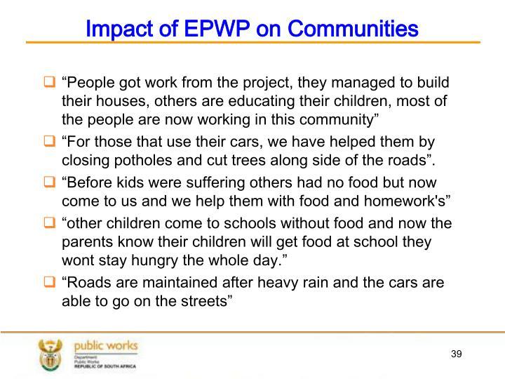 Impact of EPWP on Communities