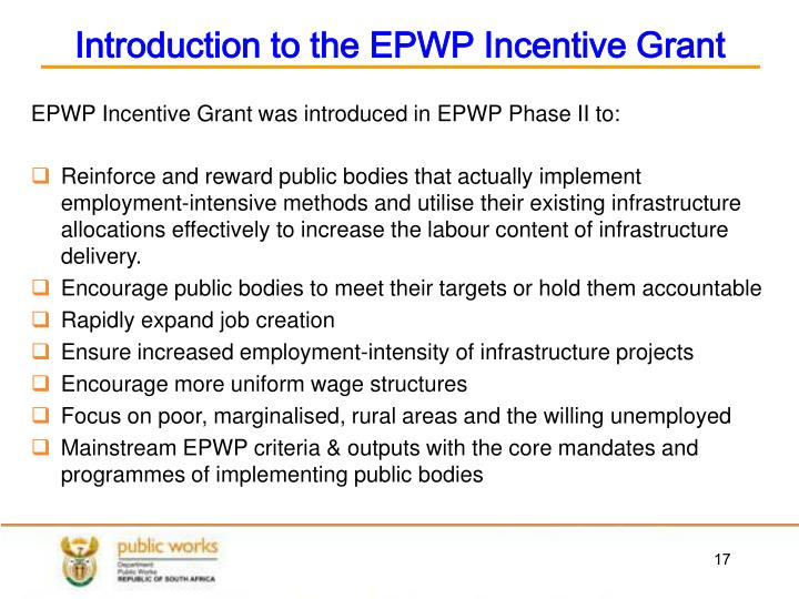 Introduction to the EPWP Incentive Grant