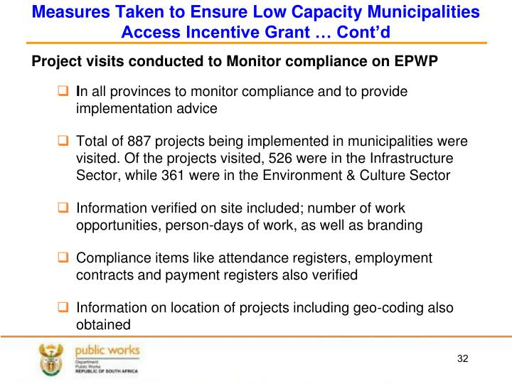 Measures Taken to Ensure Low Capacity Municipalities Access Incentive Grant … Cont'd