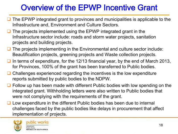 Overview of the EPWP Incentive Grant