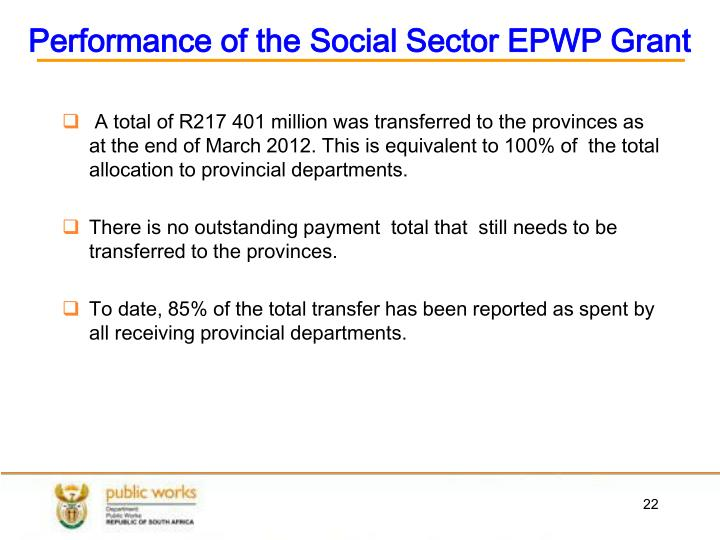 Performance of the Social Sector EPWP Grant