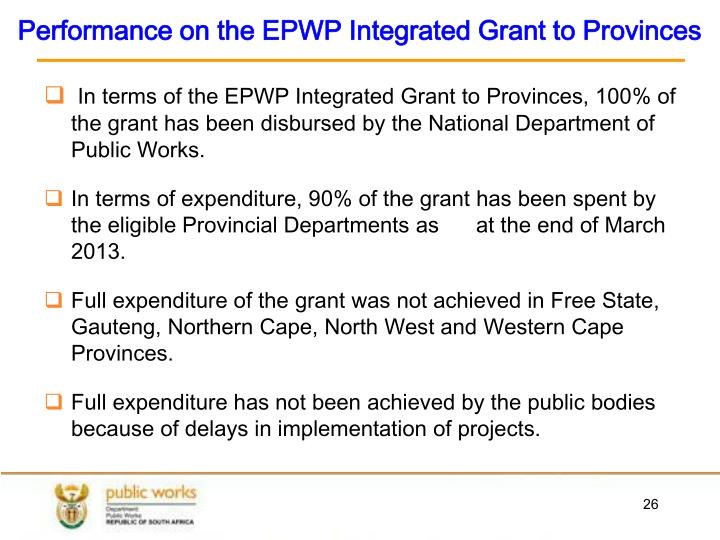 Performance on the EPWP Integrated Grant to Provinces