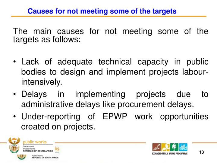 Causes for not meeting some of the targets