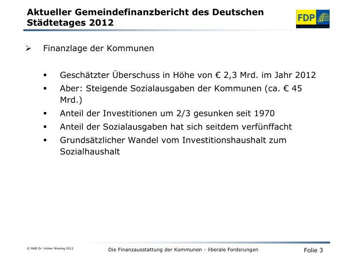 Aktueller gemeindefinanzbericht des deutschen st dtetages 2012