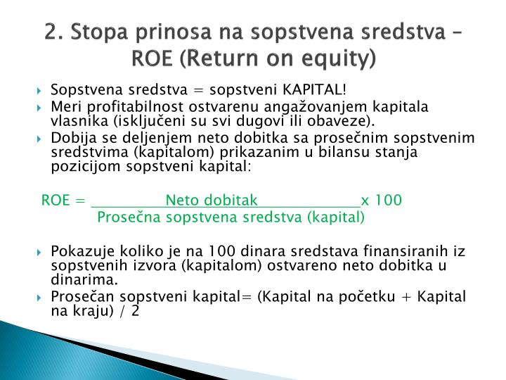 2 stopa prinosa na sopstvena sredstva roe return on equity