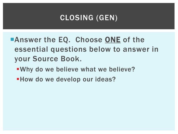 CLOSING (gen)
