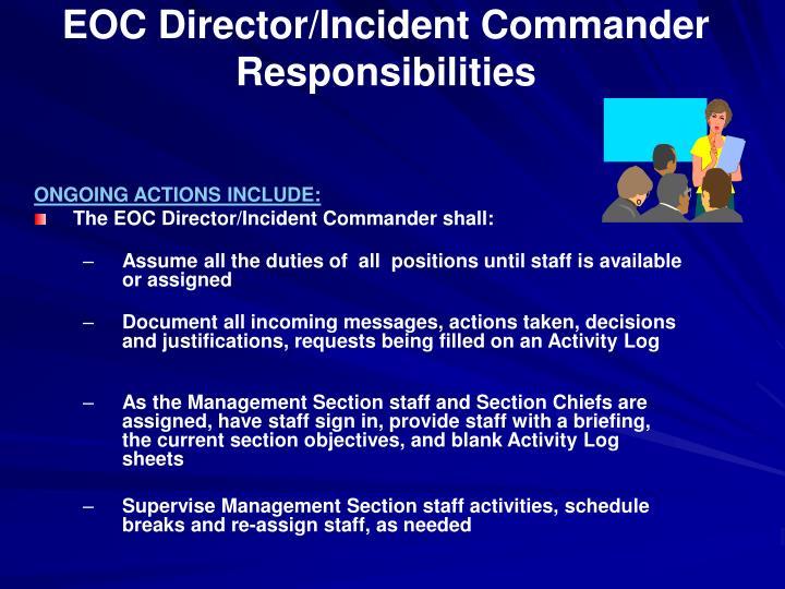EOC Director/Incident Commander Responsibilities