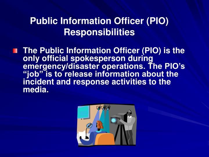 Public Information Officer (PIO) Responsibilities