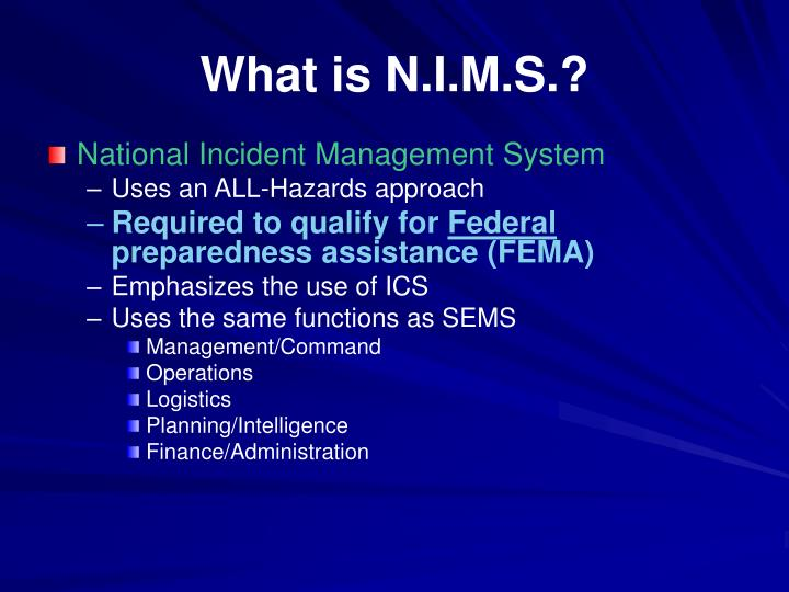 What is N.I.M.S.?
