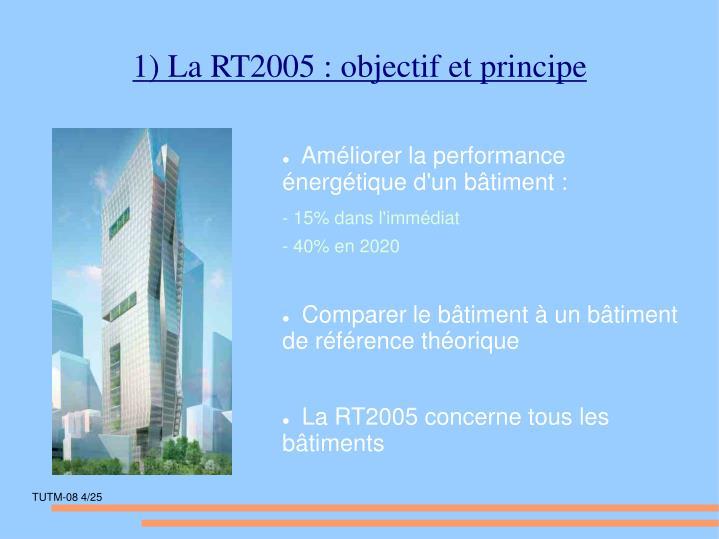 1) La RT2005 : objectif et principe