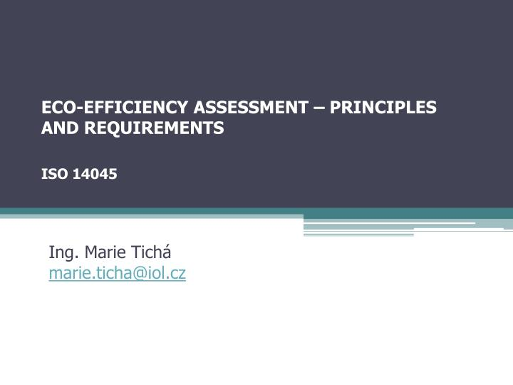eco efficiency assessment principles and requirements iso 14045 n.