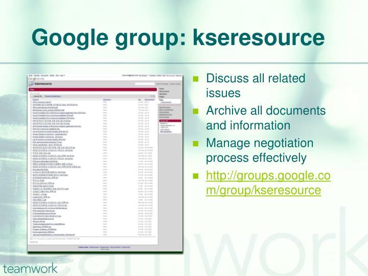 Google group: kseresource