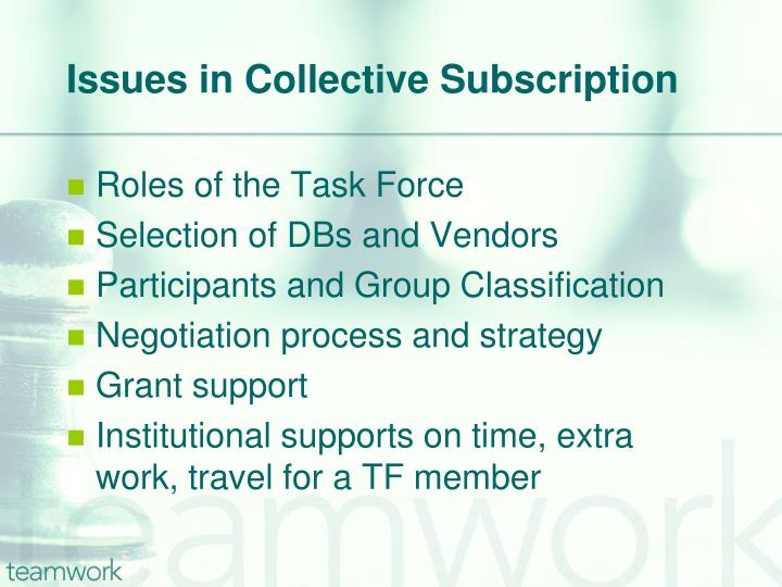 Issues in Collective Subscription
