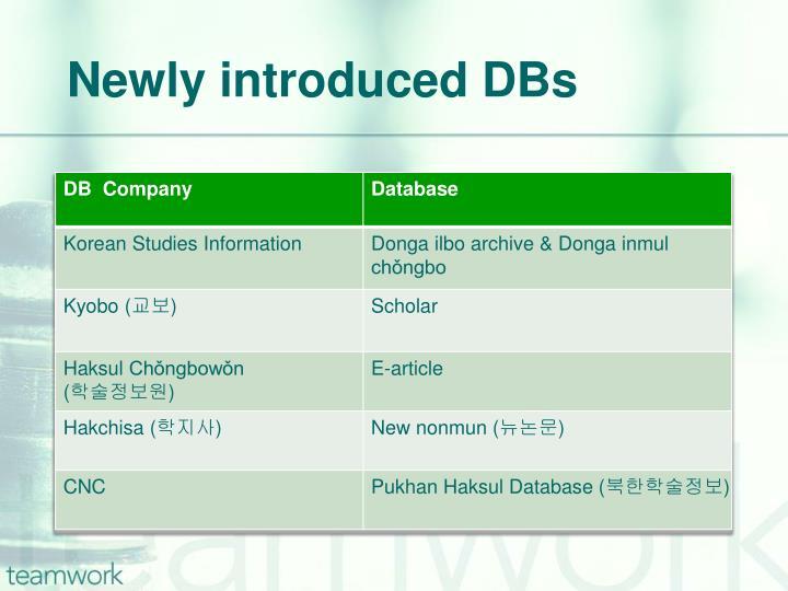Newly introduced DBs