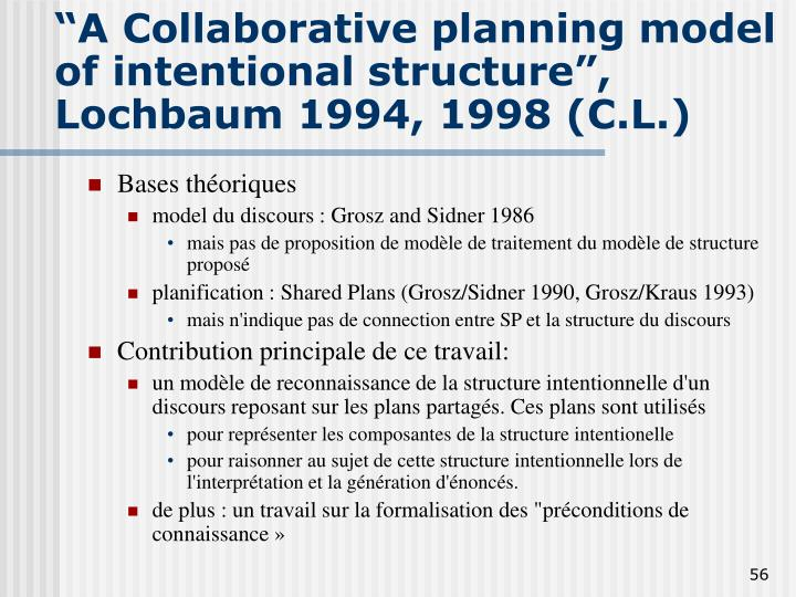 """A Collaborative planning model of intentional structure"","