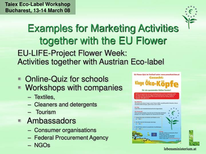 Examples for Marketing Activities