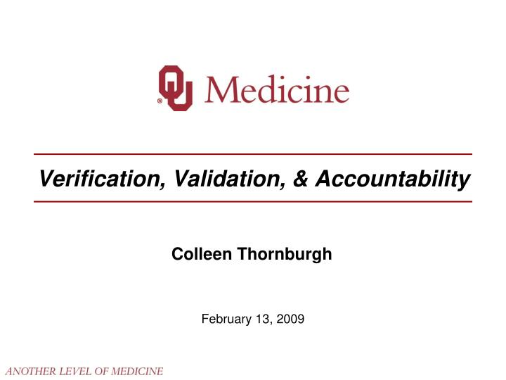 verification validation accountability