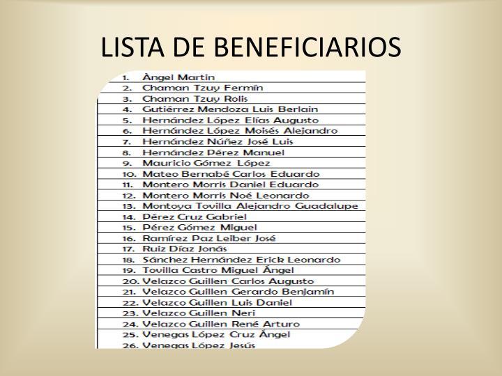 LISTA DE BENEFICIARIOS