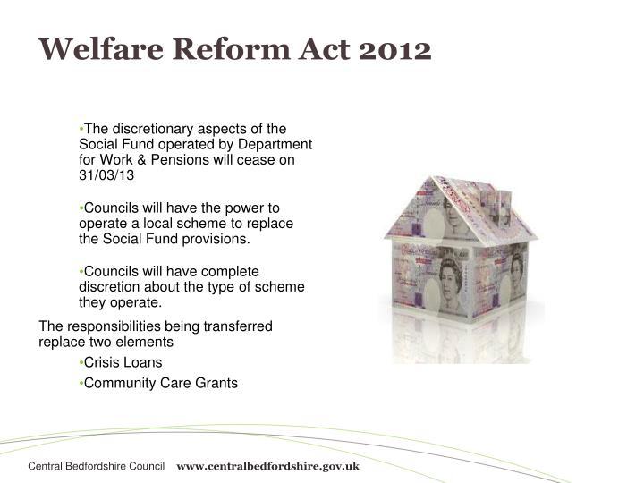 Welfare reform act 2012