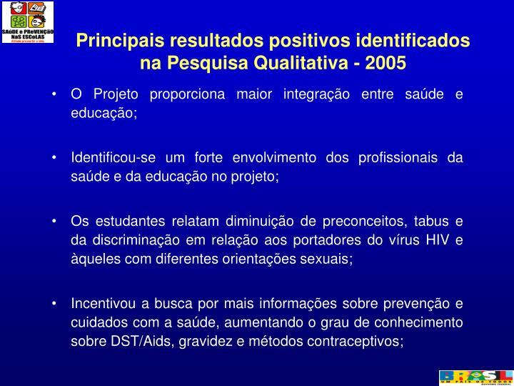 Principais resultados positivos identificados na Pesquisa Qualitativa - 2005