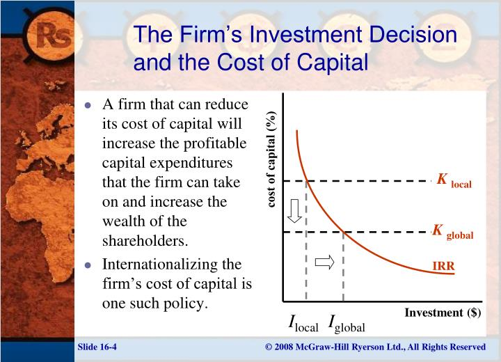 types of capital investment decisions Chapter ten making capital investment decisions © 2003 the mcgraw-hill companies, inc all rights reserved 101 relevant cash flows 101  the part of it, then we should include the part that occurs (or does not occur) because of the project 104 common types of cash flows 102  sunk.