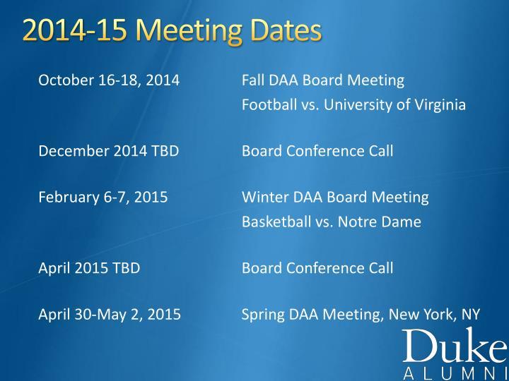 2014-15 Meeting Dates
