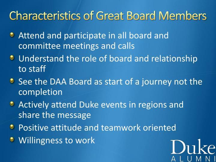 Characteristics of Great Board Members