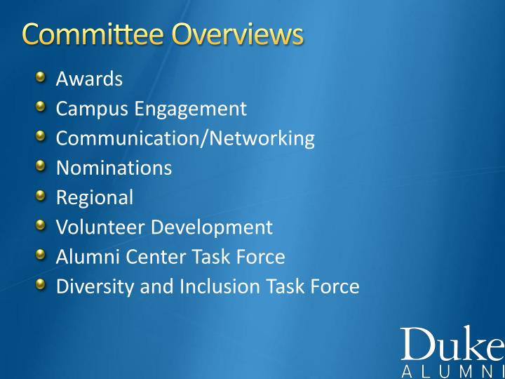 Committee Overviews