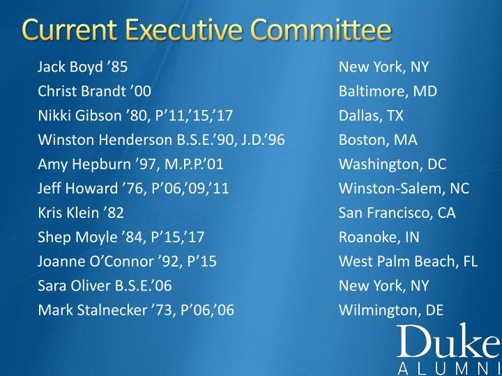 Current Executive Committee