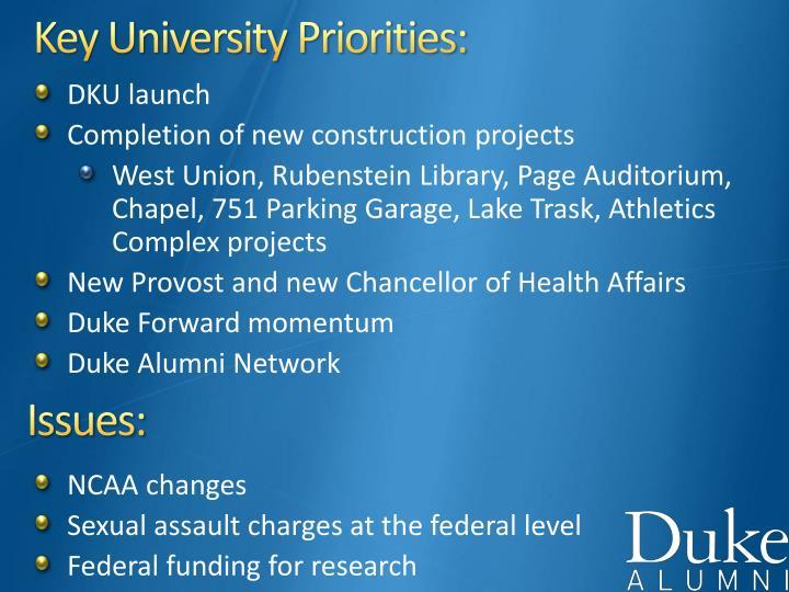 Key University Priorities: