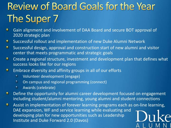 Review of Board Goals for the Year