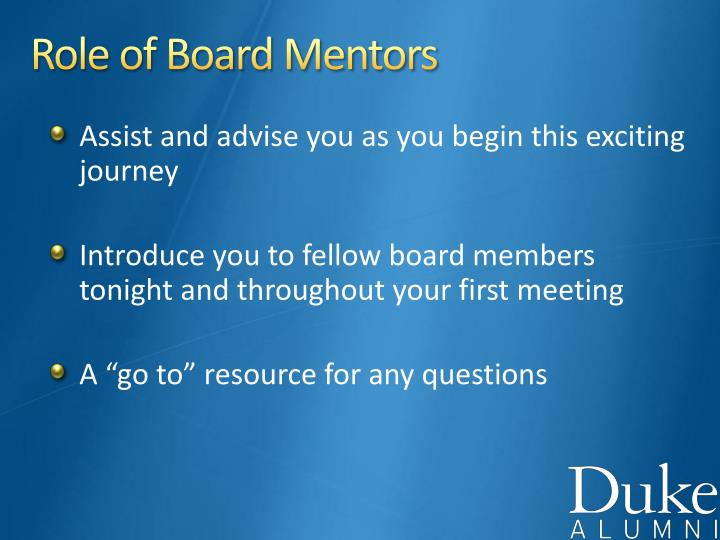 Role of Board Mentors