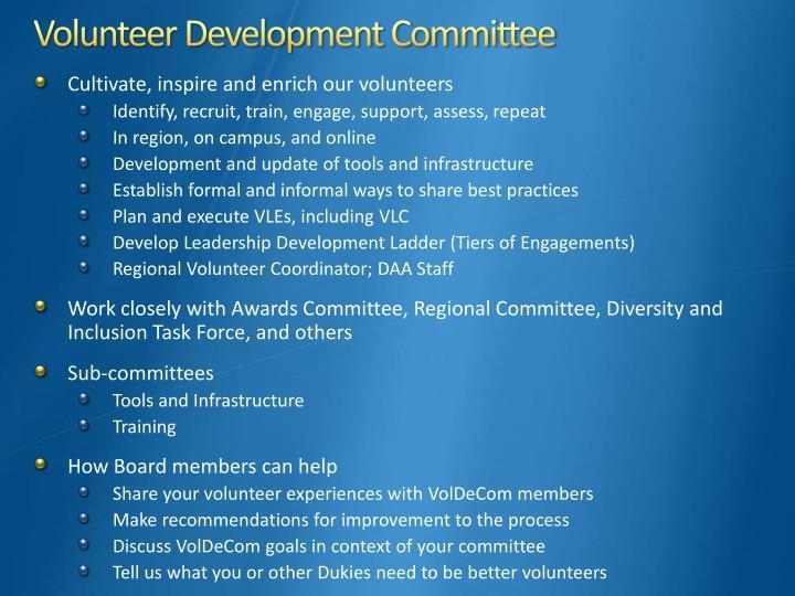 Volunteer Development Committee