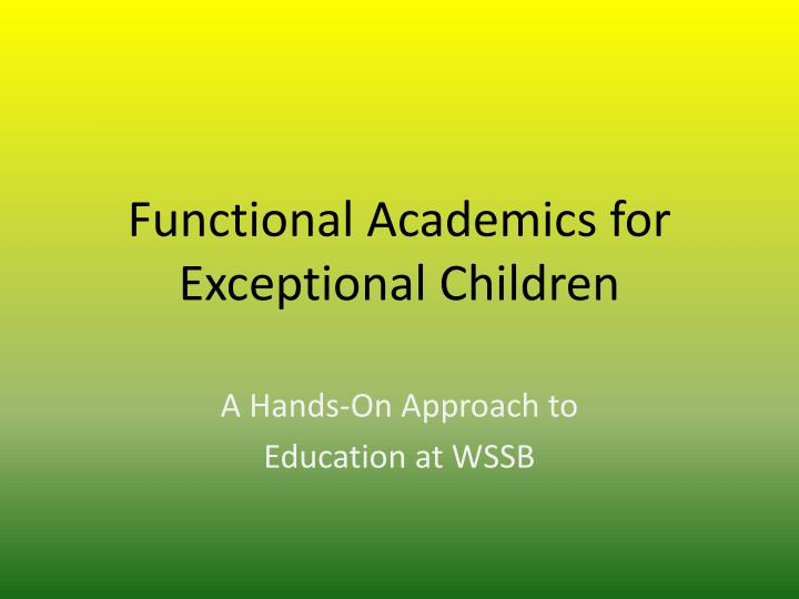 functional academics for exceptional children n.