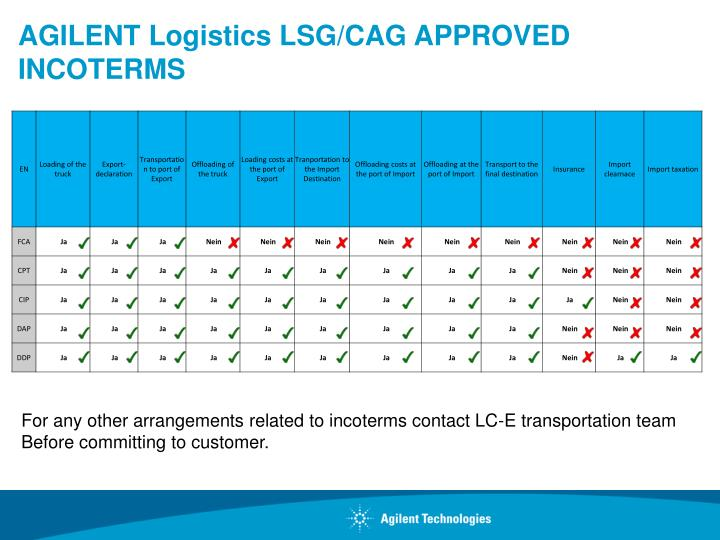 Agilent logistics lsg cag approved incoterms