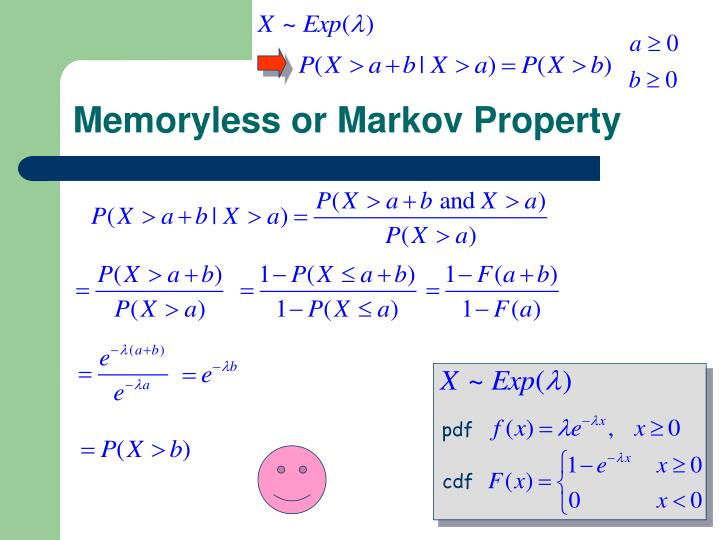 Memoryless or Markov Property