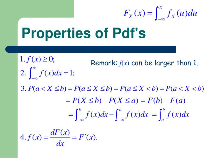 Properties of Pdf's