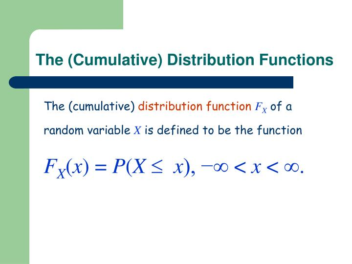 The (Cumulative) Distribution Functions