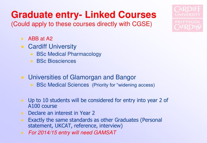 Graduate entry- Linked Courses