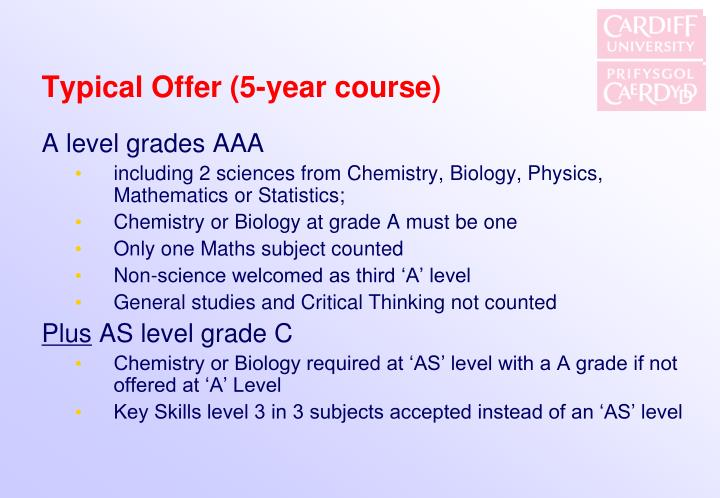 Typical Offer (5-year course)