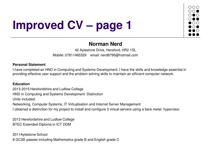 Improved CV – page 1